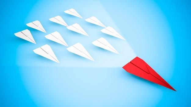 Conceito de liderança com aviões de papel: o avião vermelho mais rápido
