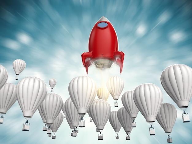 Conceito de liderança com foguete vermelho de renderização 3d acima de balões de ar quente azuis