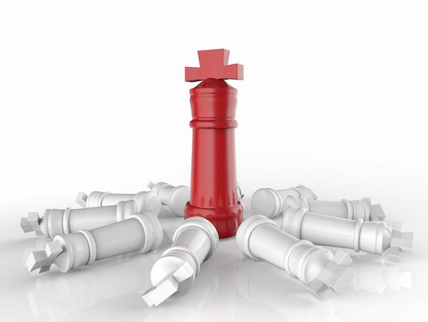 Conceito de liderança com renderização em 3d do rei do xadrez