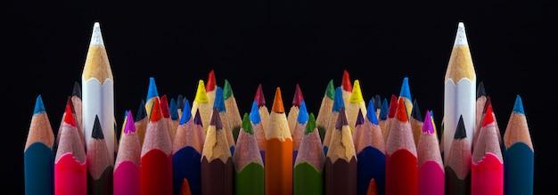 Conceito de liderança, duas cores brancas destacadas do que outras cores, imagem panorâmica
