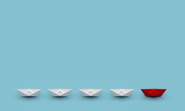 Conceito de liderança e negócios. navio líder vermelho lidera outros navios com fundo em branco