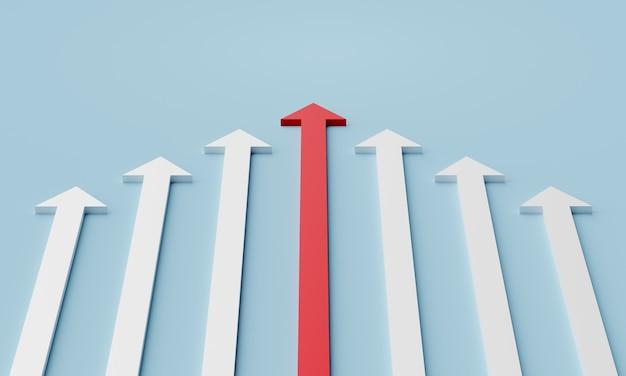 Conceito de liderança. uma seta vermelha líder liderando a equipe para a frente