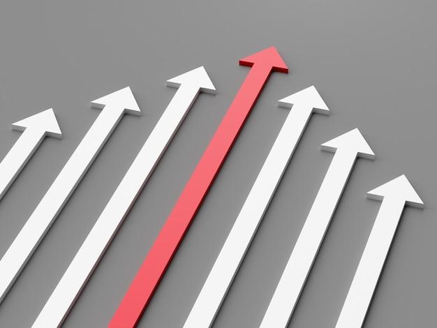 Conceito de liderança uma seta vermelha líder liderando a equipe para a frente