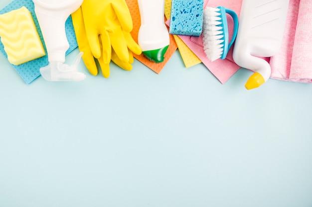 Conceito de limpeza plana leigos composição
