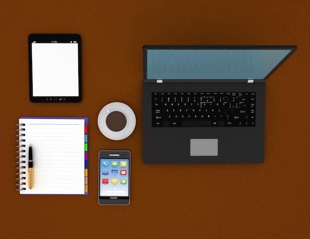 Conceito de local de trabalho. conceito de trabalho. ilustração renderizada 3d