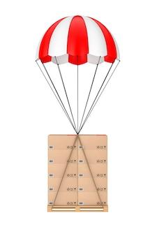 Conceito de logística. caixas de papelão na paleta de madeira com pára-quedas em um fundo branco. renderização 3d