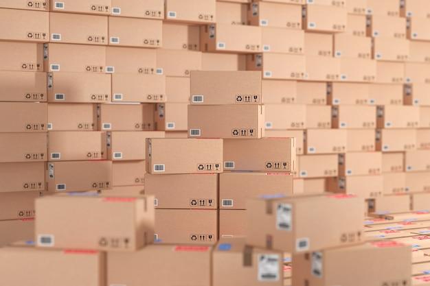Conceito de logística, distribuição e entrega. pacotes de papelão e caixas de pacotes pilha no armazém como plano de fundo closeup extrema. renderização 3d