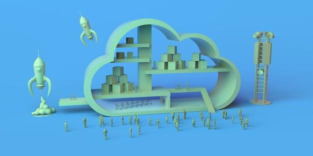 Conceito de logística em nuvem com foguetes e antenas. copie o espaço. ilustração 3d.