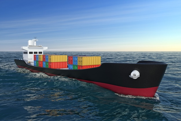 Conceito de logística empresarial. navio de carga tanque ou contêiner em movimento em closeup extrema de água do oceano. renderização 3d