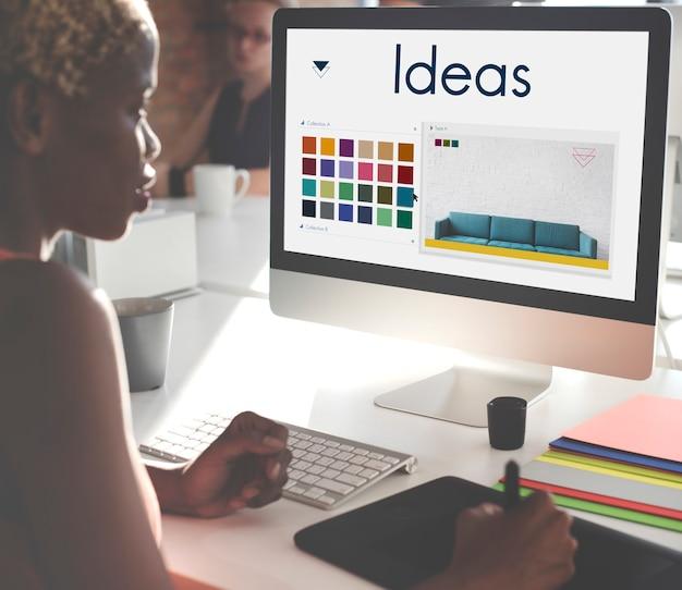 Conceito de logotipo de design de ideias, seja inspiração criativa