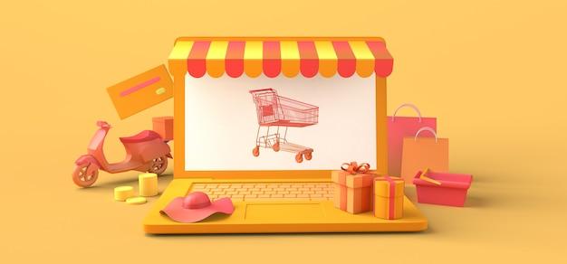 Conceito de loja online e entrega em domicílio com laptop. copie o espaço. ilustração 3d.