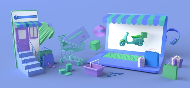 Conceito de loja online e entrega em domicílio com laptop e smartphone. copie o espaço. ilustração 3d.