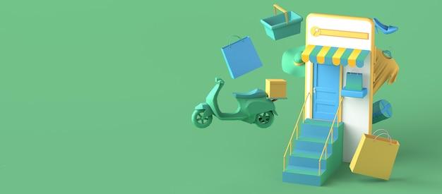 Conceito de loja online e entrega em domicílio com smartphone. copie o espaço. ilustração 3d.