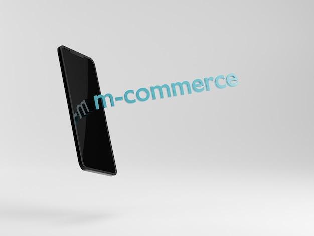 Conceito de m-commerce. smartphone em fundo branco. compras online do telefone. banco móvel. 3d