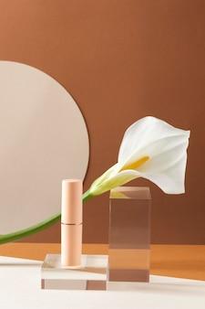 Conceito de maquiagem com flor