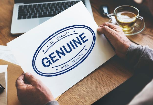 Conceito de marca comercial genuína e autêntica de produto com licença