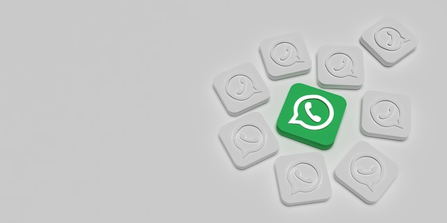 Conceito de marca de marketing de whatsapp 3d com branco