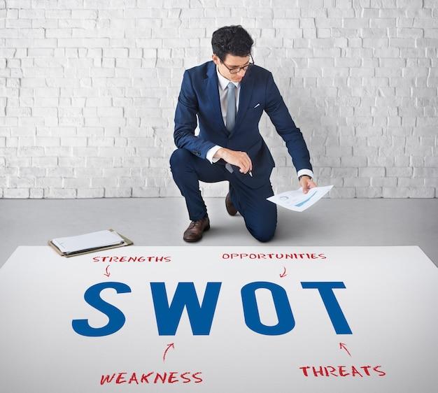 Conceito de marketing de estratégia de empresa de negócios swot