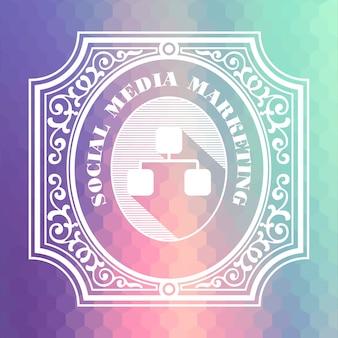 Conceito de marketing de mídia social. design vintage. fluxo de cor hexagonal.