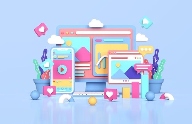 Conceito de marketing digital de mídia social instagram renderização em 3d