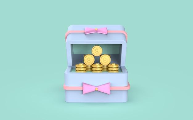 Conceito de marketing digital de moeda de caixa de presente de mídia social renderização em 3d
