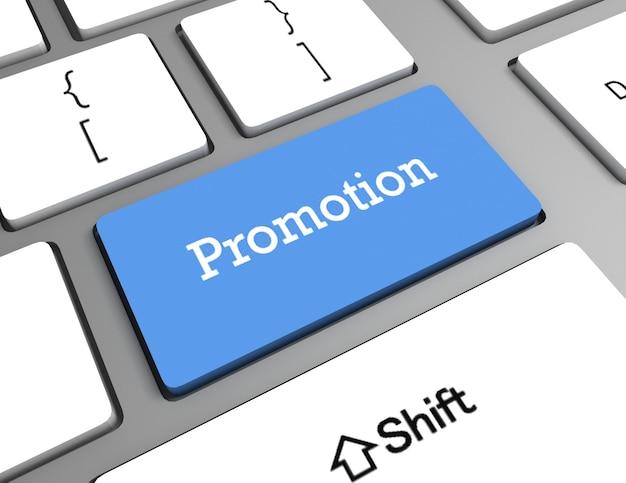 Conceito de marketing: teclado de computador com promoção de palavras,