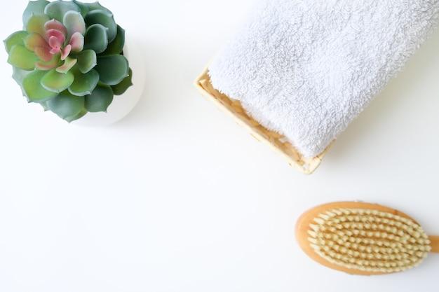 Conceito de massagem com escova seca anticelulite