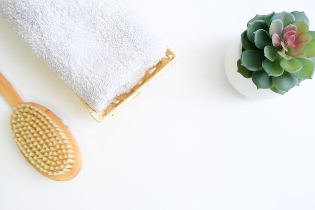 Conceito de massagem escova seca anticelulite, acessórios para o cuidado corporal e automassagem com espaço de cópia.
