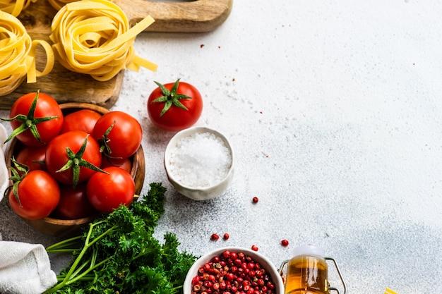 Conceito de massas e ingredientes