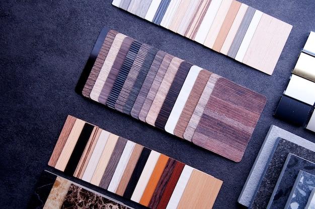 Conceito de materiais para designer de interiores.