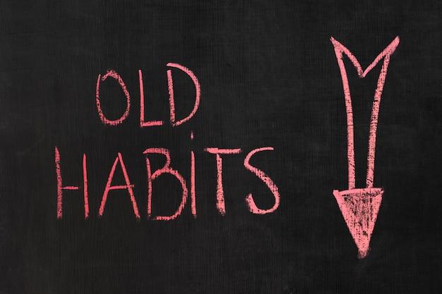 Conceito de maus hábitos com quadro-negro