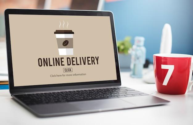 Conceito de menu de entrega online de pedido de café para viagem