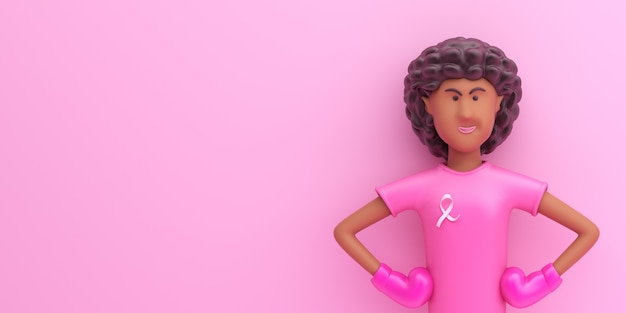 Conceito de mês de conscientização do dia do câncer de mama com personagem de desenho animado de garota afro