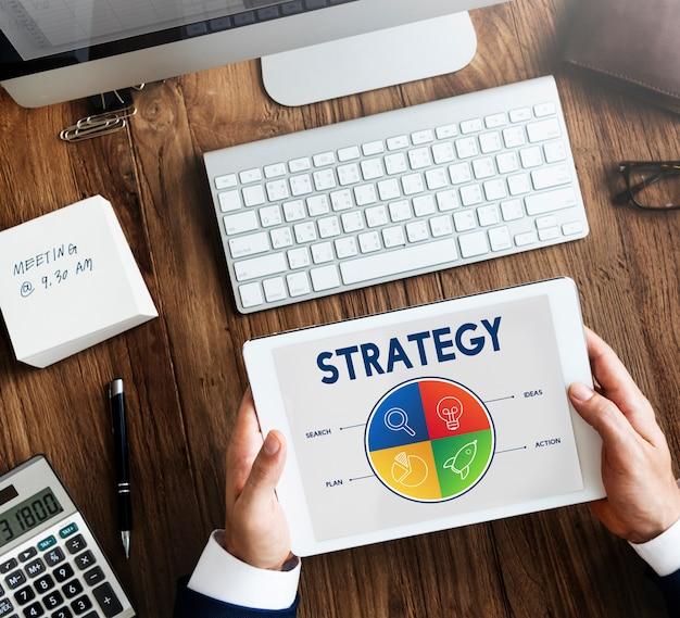 Conceito de meta de estratégia de empreendedor em startups de negócios