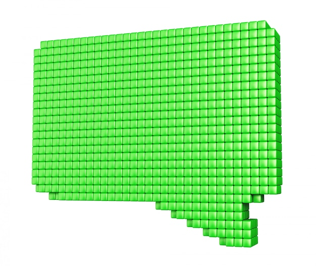 Conceito de mídia de internet. forma de bolha verde feita de cubos brilhantes isolados