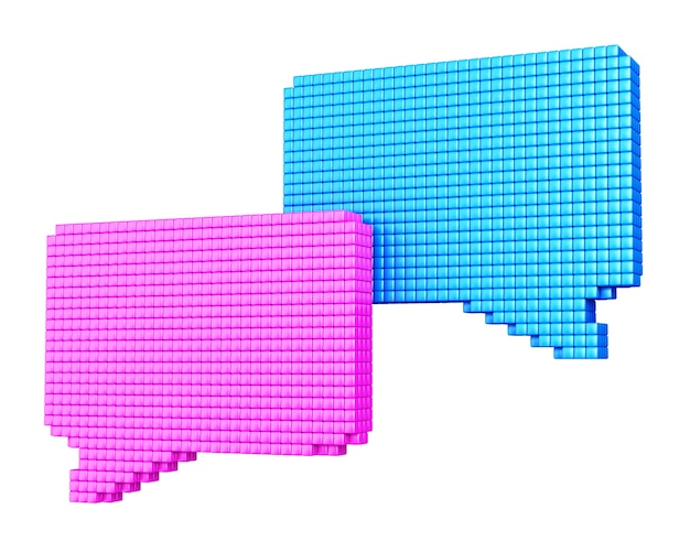 Conceito de mídia de internet. formulários de bolha azul e rosa feitos de cubos brilhantes isolados