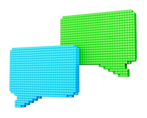 Conceito de mídia de internet. formulários de bolha azul e verde feitos de cubos brilhantes isolados