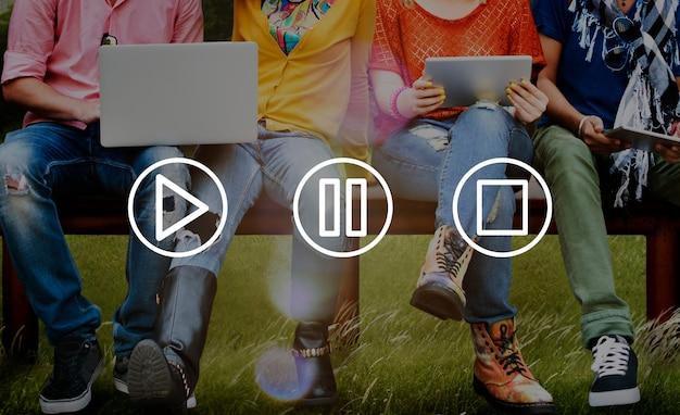 Conceito de mídia do aplicativo de música do botão play