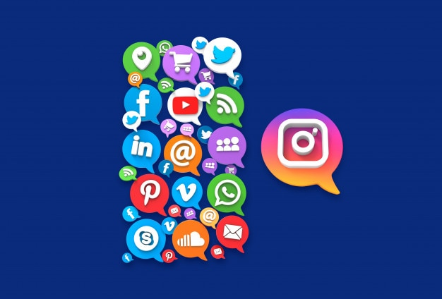 Conceito de mídia social. balão de diálogo de aplicativos ícone 3d, vista superior