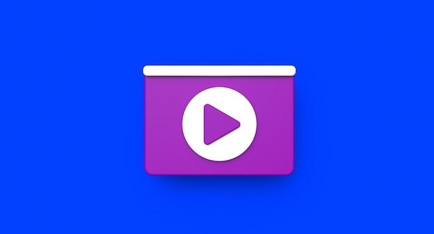 Conceito de mídia social da página da web. ilustração do ícone de reprodução de vídeo. renderização 3d