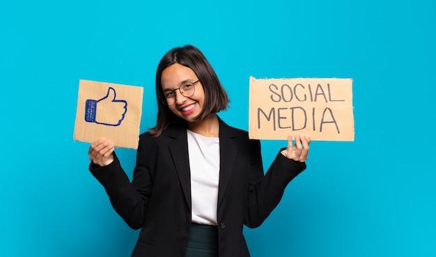 Conceito de mídia social jovem pré-empresária