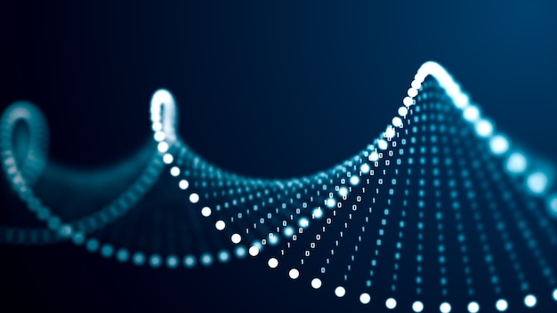 Conceito de molécula de dna de inteligência artificial. o dna é convertido em um código binário. genoma de código binário do conceito. molécula de dna de tecnologia abstrata com genes modificados. ilustração 3d