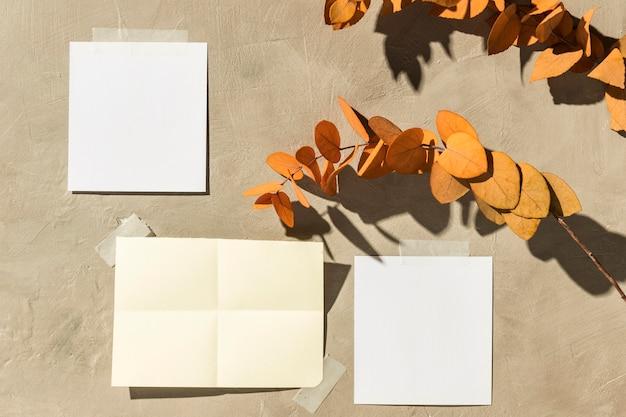 Conceito de moodboard de outono com espaço de cópia