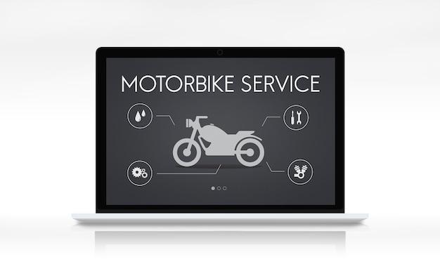 Conceito de motocicleta de manutenção de serviço motorizado