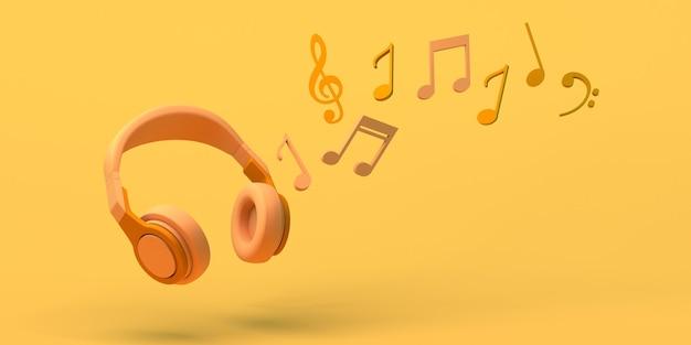 Conceito de música com fones de ouvido e notas musicais. copie o espaço. ilustração 3d.
