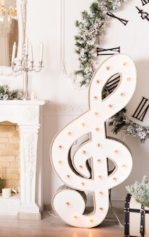 Conceito de música de natal - clave de sol