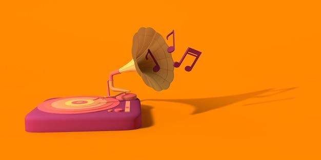 Conceito de música gramofone retro de vinil com notas musicais copiar ilustração 3d do espaço