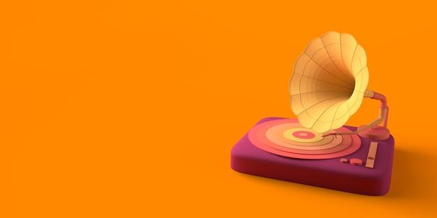 Conceito de música gramofone retro de vinil copiar ilustração 3d do espaço