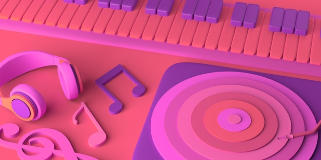 Conceito de música. piano com fones de ouvido, notas musicais e disco de vinil. copie o espaço. ilustração 3d.