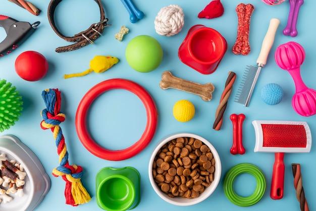 Conceito de natureza morta de acessórios para animais de estimação com objetos coloridos